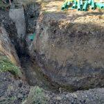 Graben für die Abwasserrohre