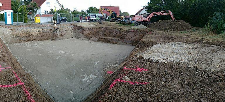 Baugrube fertiggestellt